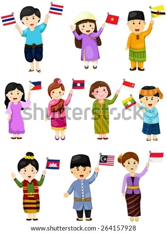 illustration of isolated set boys and girls of asean countries - stock vector