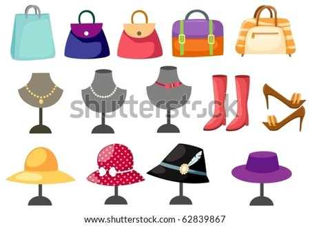 illustration of isolated set of accessories women on white - stock vector