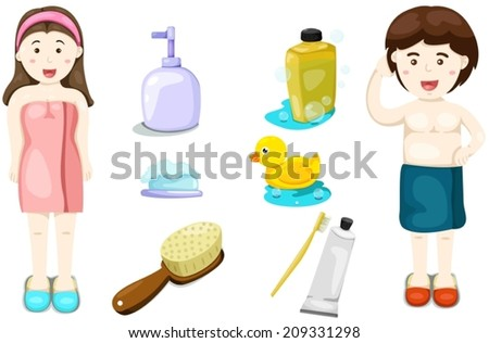illustration of isolated set of bathing with boy and girl - stock vector
