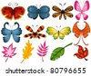 illustration of isolated set of butterfly and leaves on white - stock vector