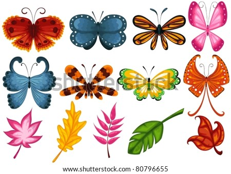 illustration of isolated set of butterfly and leaves on white