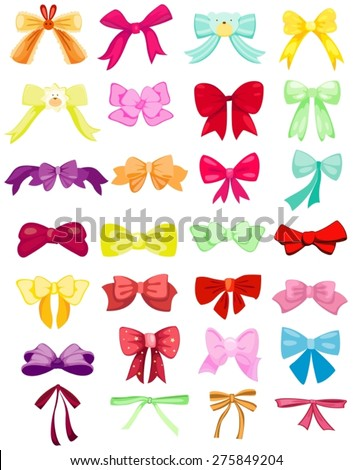 illustration of isolated set of colorful and cute bows - stock vector