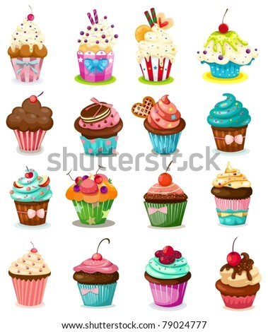 illustration of isolated set of cupcake on white background - stock vector