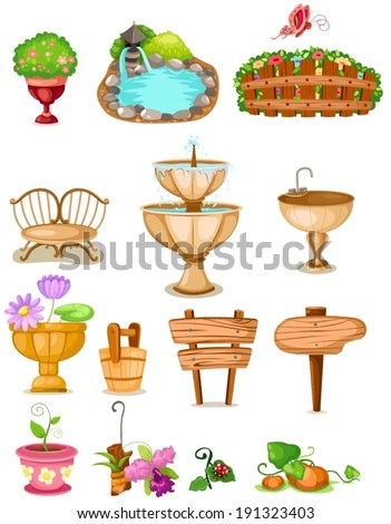 illustration of isolated set of decoration garden