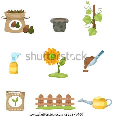 illustration of isolated set of garden on white