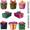 illustration of isolated set of gift box on white background - stock vector