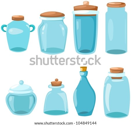 illustration of isolated set of glassware on white - stock vector