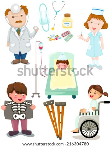 illustration of isolated set of medical hospital set