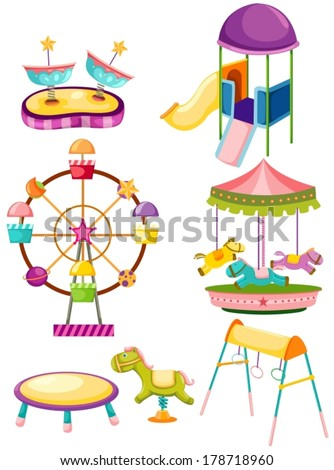 illustration of isolated set of playground on white