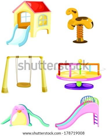 illustration of isolated set of playground on white - stock vector