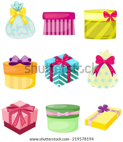 illustration of isolated set of present boxs and bags