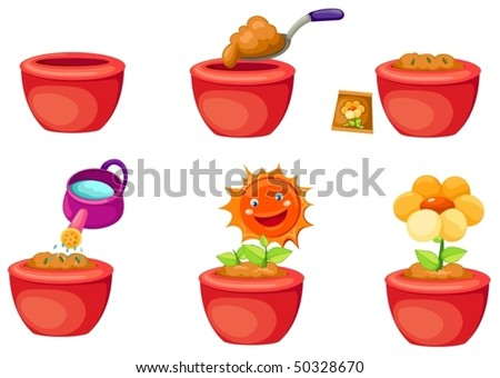 illustration of isolated set of seeding icons on white background - stock vector