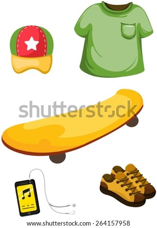 illustration of isolated set of skateboard,music player and clothing