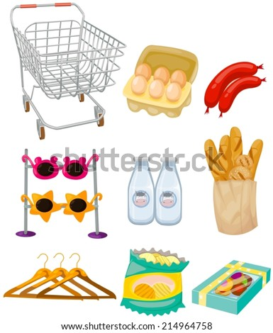 illustration of isolated set of supermarket stuffs  - stock vector