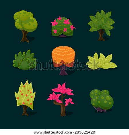 illustration of isolated set of tree on white background - stock vector