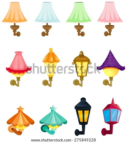 illustration of isolated set of  wall lanterns - stock vector