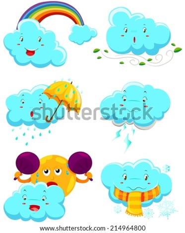 illustration of isolated set of weather icons on white  - stock vector