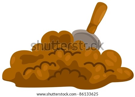 illustration of isolated  small shovel with soil on white background - stock vector