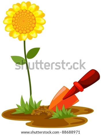 illustration of isolated small shovel with sunflower on white - stock vector
