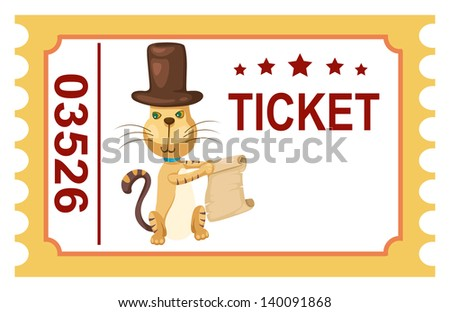illustration of isolated ticket circus cat vector - stock vector