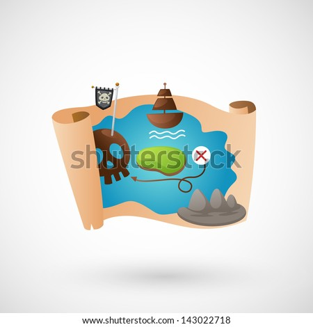 illustration of isolated treasure map vector - stock vector