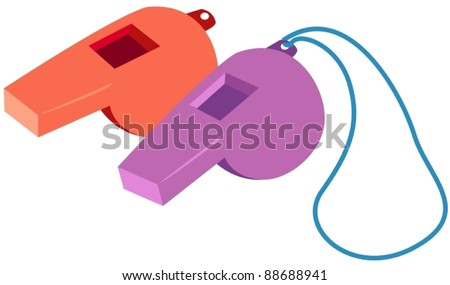 illustration of isolated two of whistles on white background - stock vector