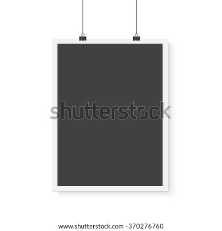 Illustration of Isolated Vector Poster Mockup. Realistic Vector EPS10 Paper Vertical Black Poster in White Frame Isolated on White Background - stock vector