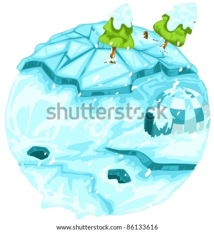 illustration of isolated winter earth with christmas tree on white - stock vector