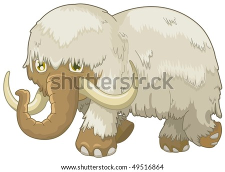 illustration of isolated woolly mammoth on white background - stock vector