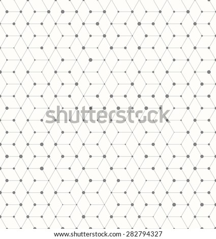 Illustration of Isomertic Cube Geometric Lines Pattern with Random Dots Circles