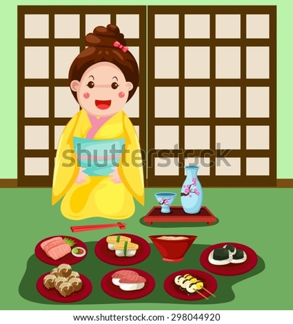illustration of  japanese girl with set of japanese food  - stock vector