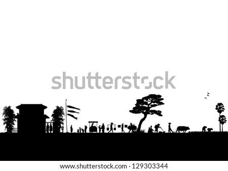 Illustration of Japanese rural silhouette, vector