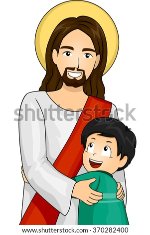 Illustration of Jesus Christ and a Happy Boy giving each other a Hug - stock vector