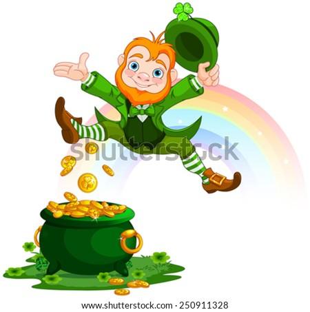 Illustration of joyful jumping leprechaun - stock vector