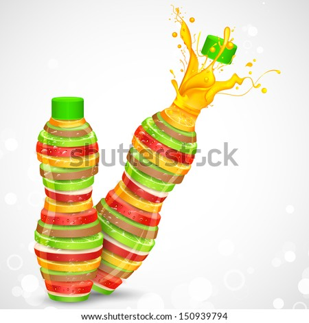 illustration of juice bottle made of fresh fruit - stock vector