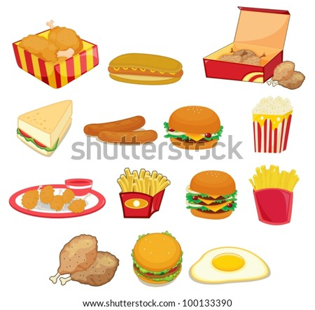 Illustration of junk food on w - stock vector
