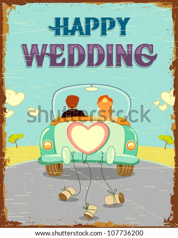 illustration of just married couple in car on vintage background - stock vector