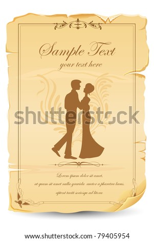 illustration of just married couple in wedding car - stock vector