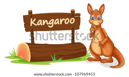 illustration of kangaroo and name plate on a white