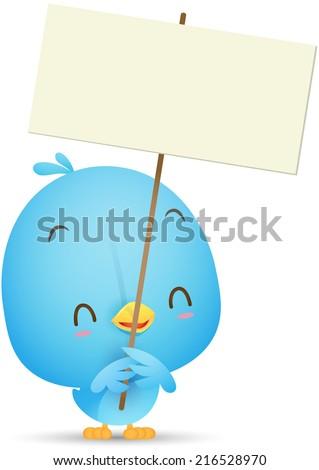 Illustration of Kawaii Blue Bird holding blank sign - stock vector