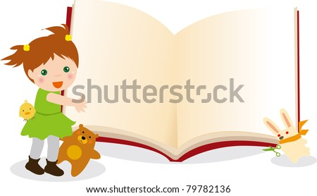 Illustration of Kid and animals book frame