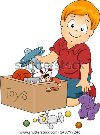 illustration kid boy storing toys stock vector 148799246 shutterstock. Black Bedroom Furniture Sets. Home Design Ideas