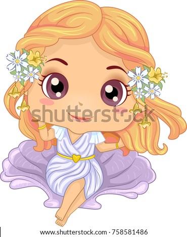 Illustration of Kid Girl Wearing an Aphrodite Costume Sitting on Top of a Shell Seat  sc 1 st  Shutterstock & Illustration Kid Girl Wearing Aphrodite Costume Stock Vector ...