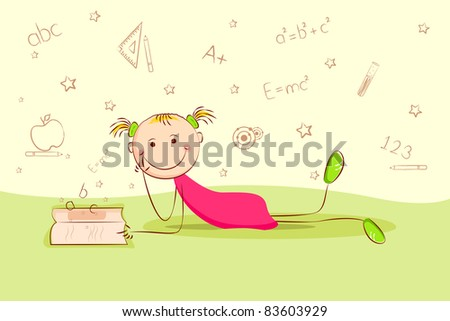 illustration of kid laying on floor and thinking about different education object - stock vector