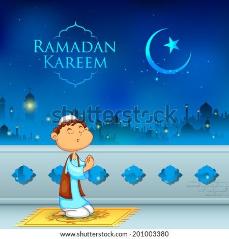 illustration of kid offering namaaz for Eid celebration - stock vector