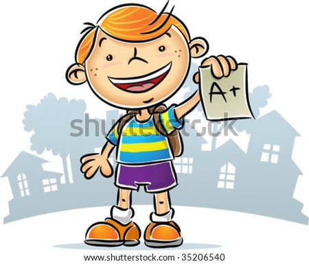 Illustration of Kid showing his A+ report - stock vector