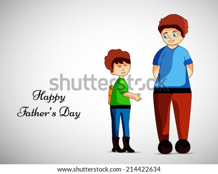 Illustration of Kid wishing his Dad on the occasion of Father's Day - stock vector