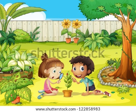 Illustration Of Kids And A Magnifier In The Garden