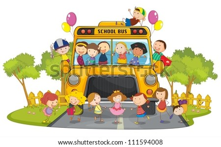 illustration of kids and school bus in nature - stock vector