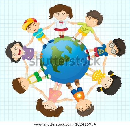 Illustration of kids around the earth - stock vector